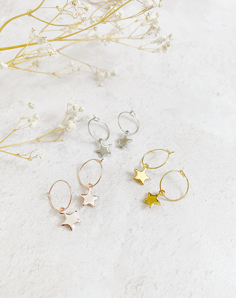 Vega Simple Star Hoop Earrings