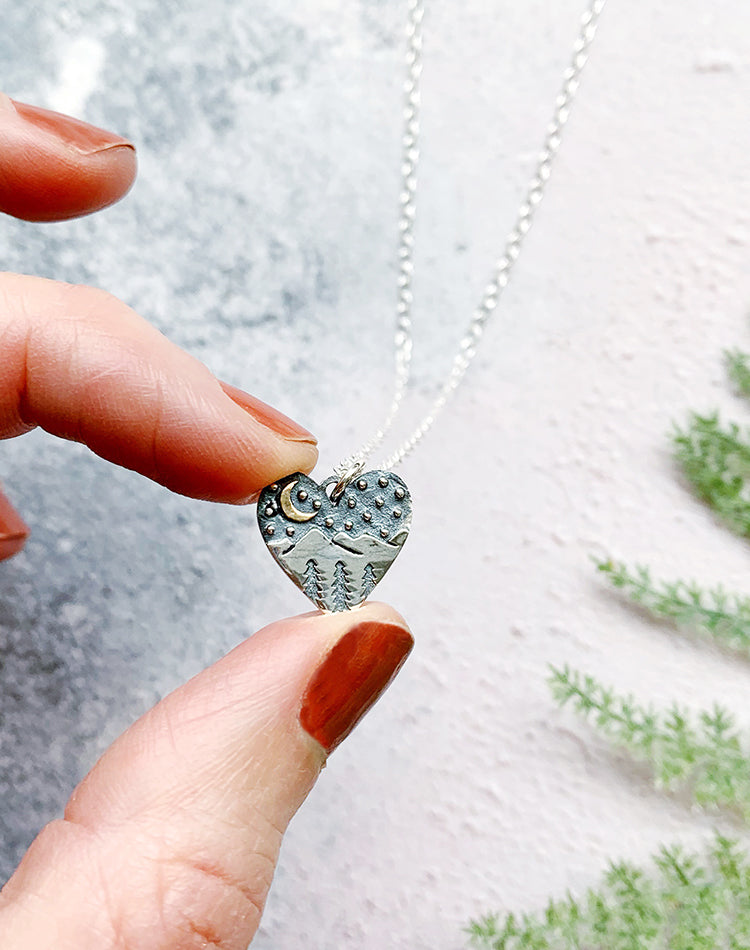 Venture Sterling Silver Mountain Heart Pendant