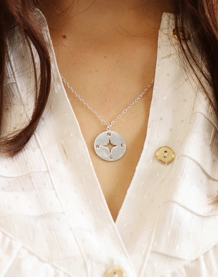 Wander - Sterling Silver Compass Necklace