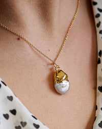 Pearl: 14k Gold Fill Organic Pearl Necklace