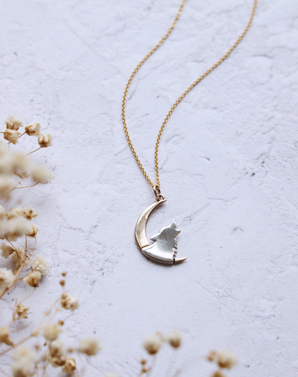 Howl - Wolf & Moon 14k Gold Fill Necklace