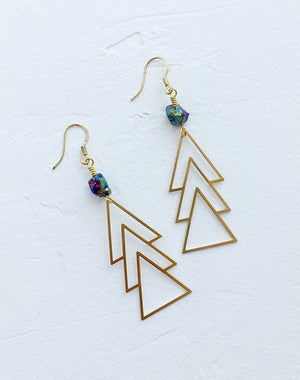 Zeme Geometric Titanium Quartz Drop Earrings