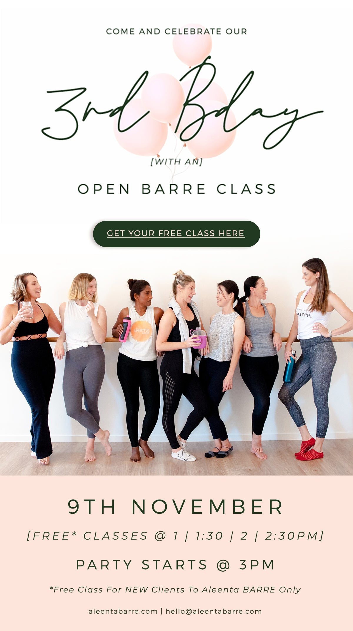 Open Barre Classes | 9 November | Mermaid Waters