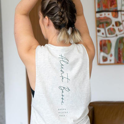 Aleenta BARRE Spine Logo Top - Oatmeal