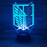 Attack on Titan Wings of Liberty 3D LED Lamp with 7 Colors Change Effect