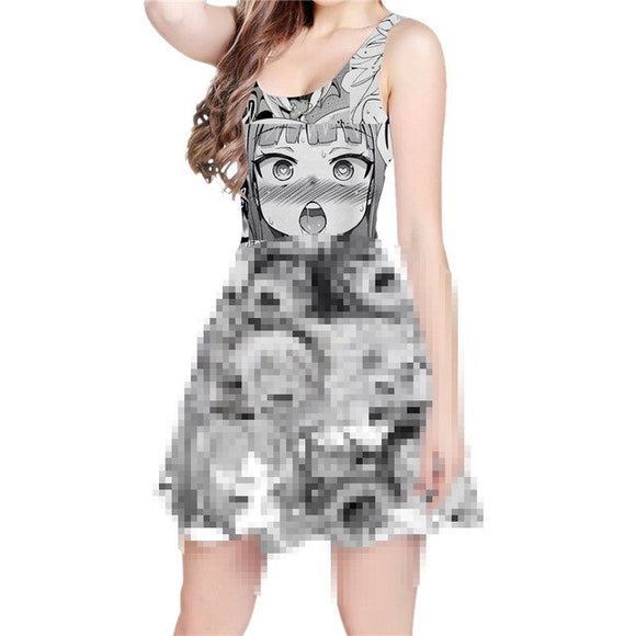 Ahegao Face Print Skater Dress