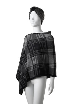 Audrey Checkered Poncho + Matching Turban (Special Offer)