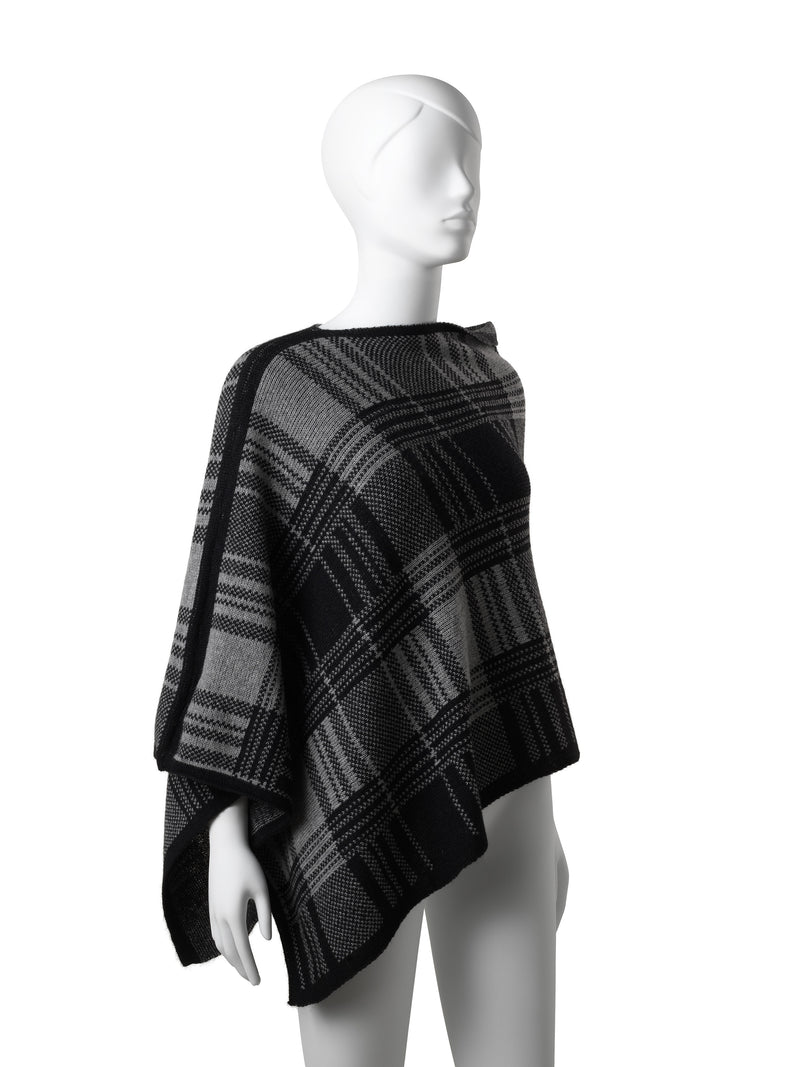 Audrey Black-Grey Checkered Poncho