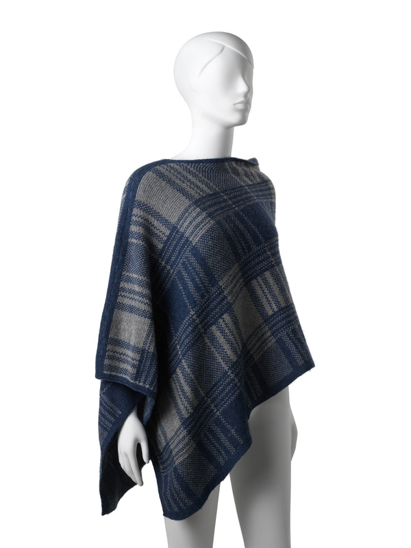 Chloe Blue-Grey Checkered Poncho
