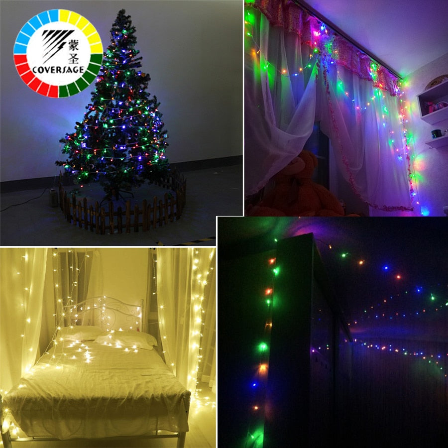 Covers 10m 100 Led String Garland Christmas Tree Fairy Light Chain Waterproof
