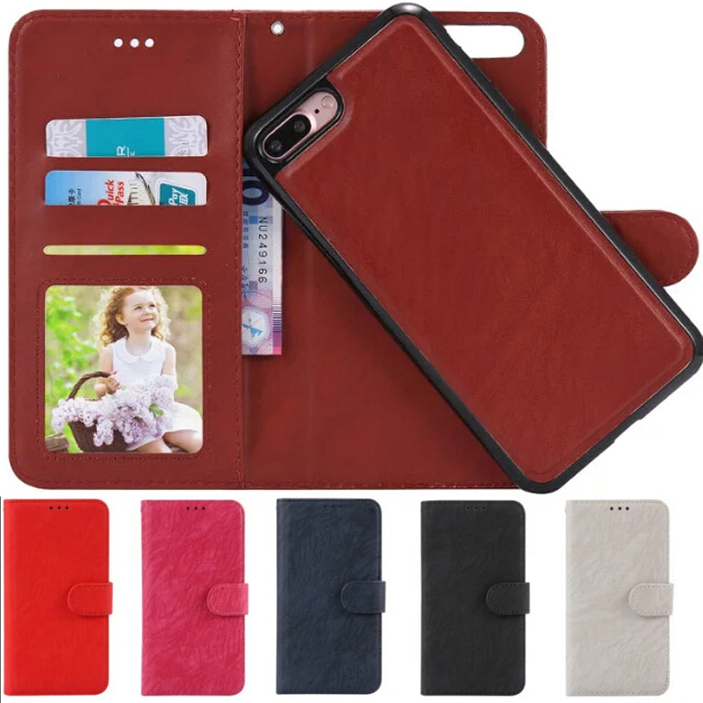 online store 6a7f9 906af For iPhone 7 Wallet Case Shockproof Flip Leather Card Pocket Case ...