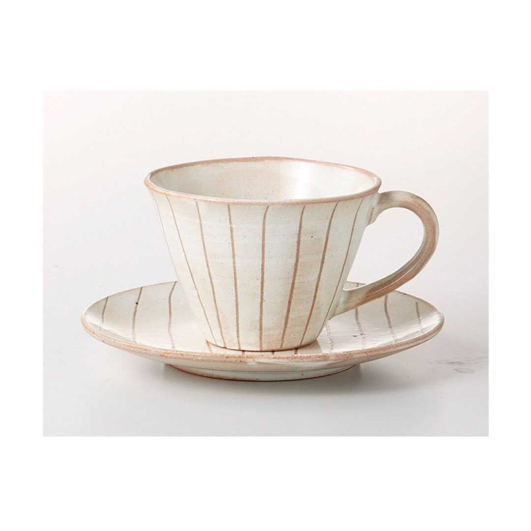 Japan series : White striped cup w. saucer
