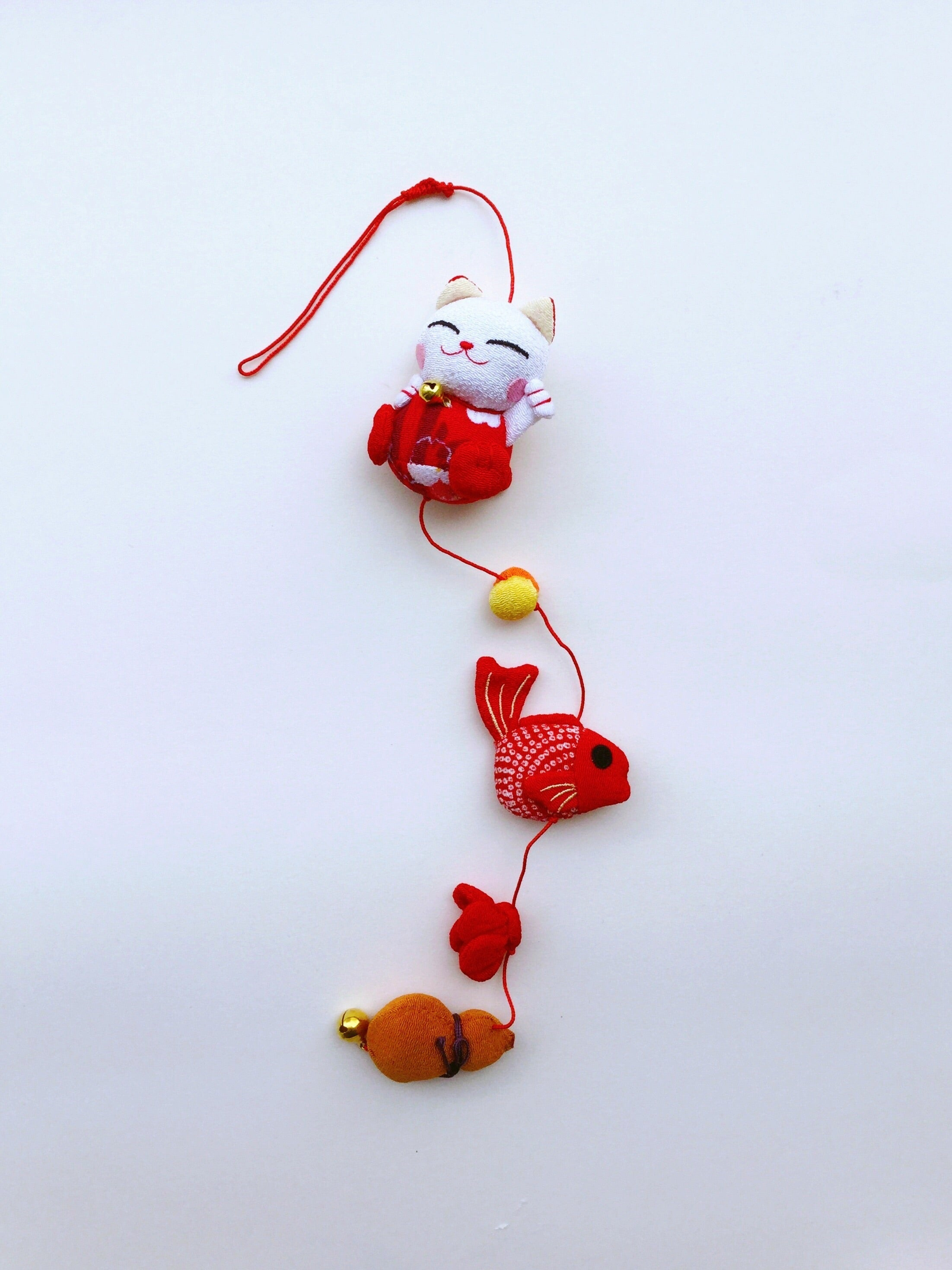 "Japan series : Handmade ornament Japan, ""Red Cat/Goldfish"""