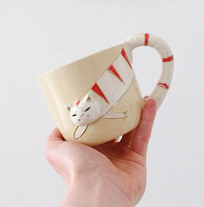 PRE-ORDER Japan series: Handmade cat mug red