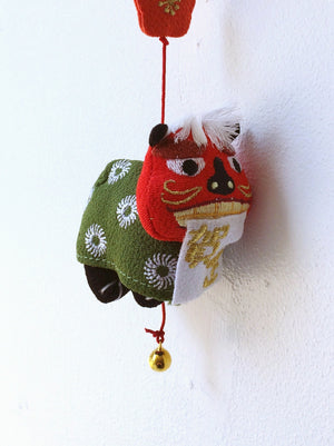 Handmade ornament Japan : Red/green Cat