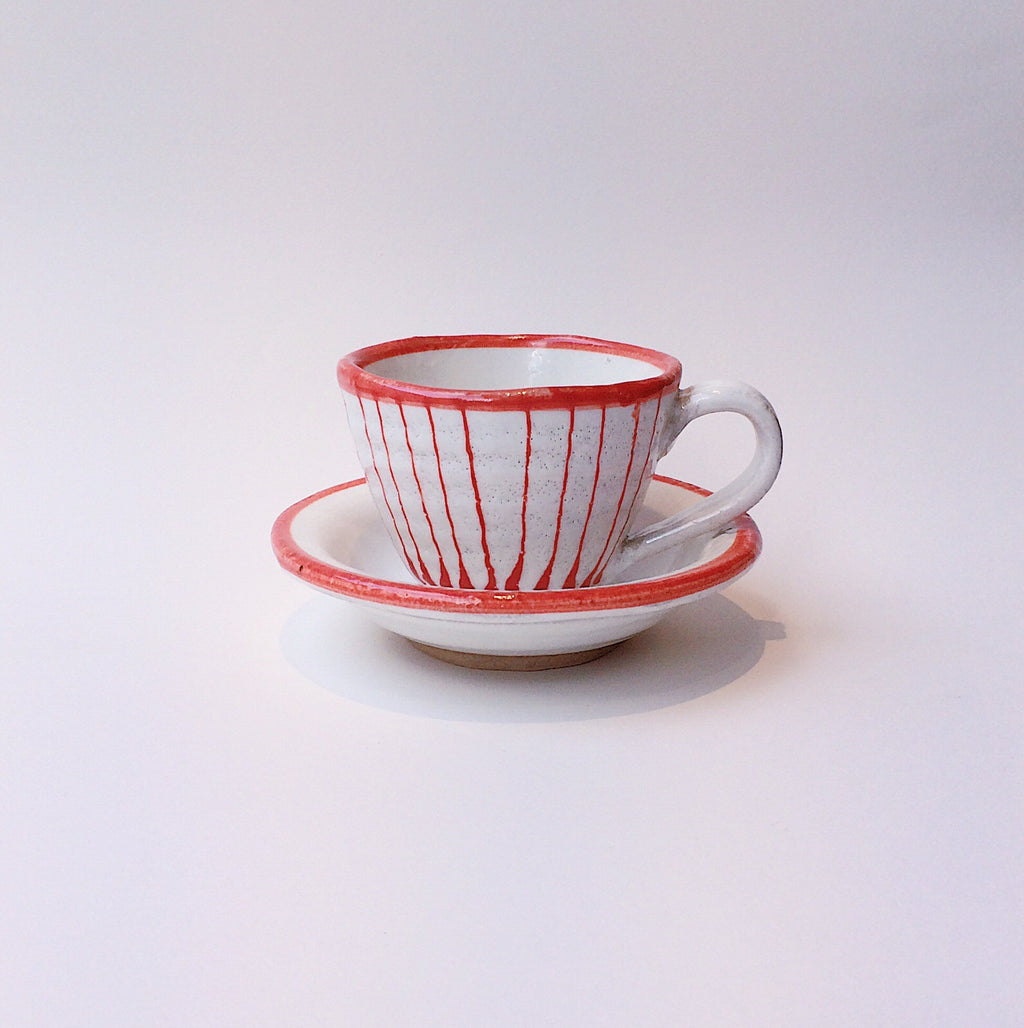 PRE-ORDER Japan series : Red and white striped cup w. saucer