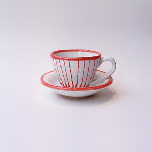 Japan series : Red and white striped cup w. saucer
