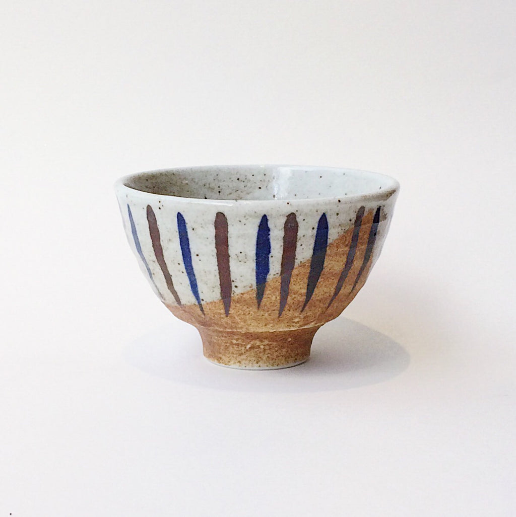 Japan series : White glazed raw bowl with stripes