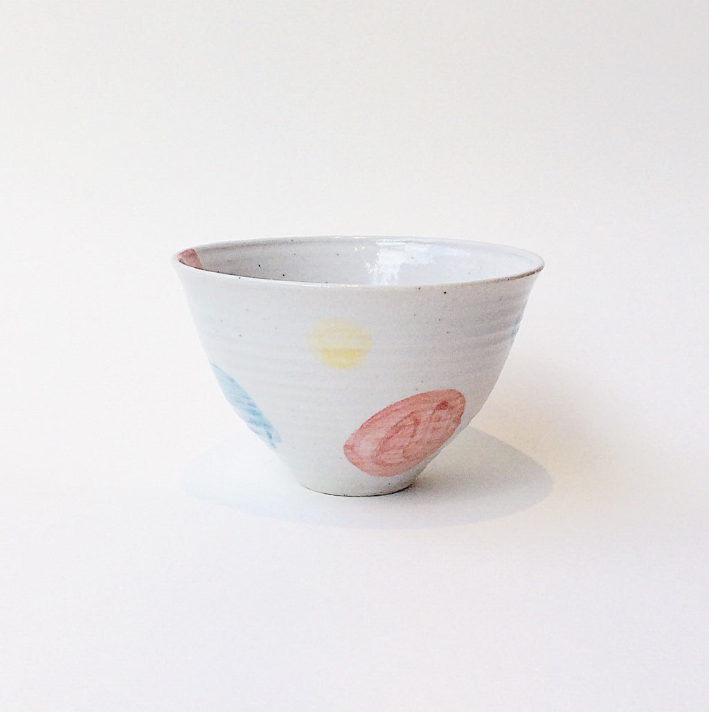 Japan series : White bowl with coloured dots