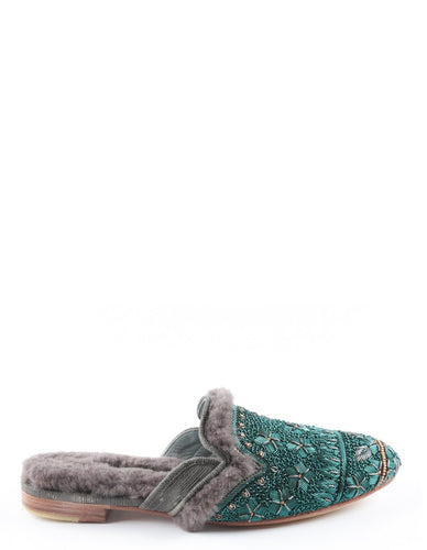 QUEEN PARATY SLIPPER EMERALD