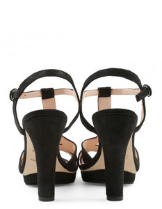 BIKINI SANDALS METALIK GOATSKIN SUEDE BLACK