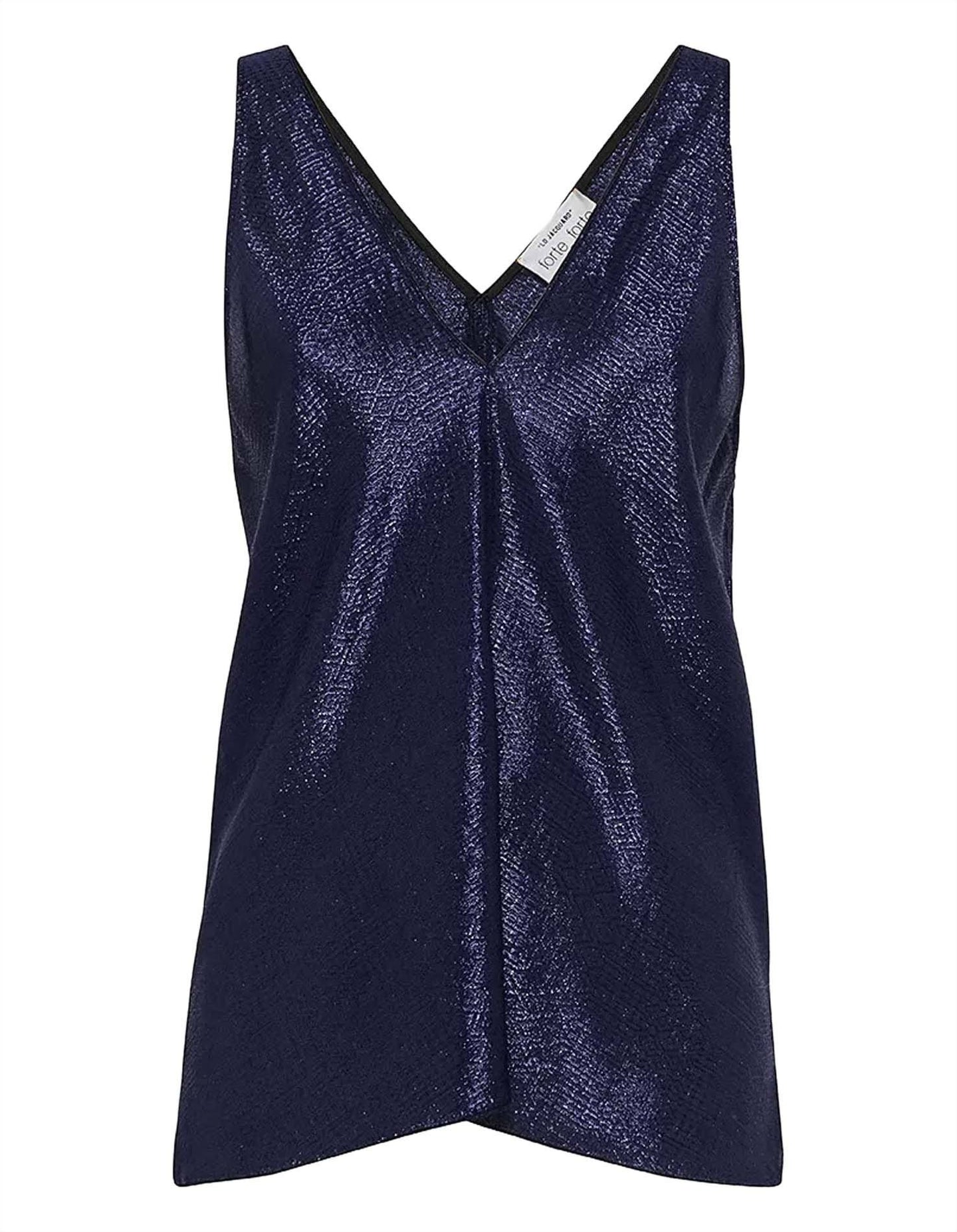"""MOZAIK"" LUREX JACQUARD TOP BLUE"