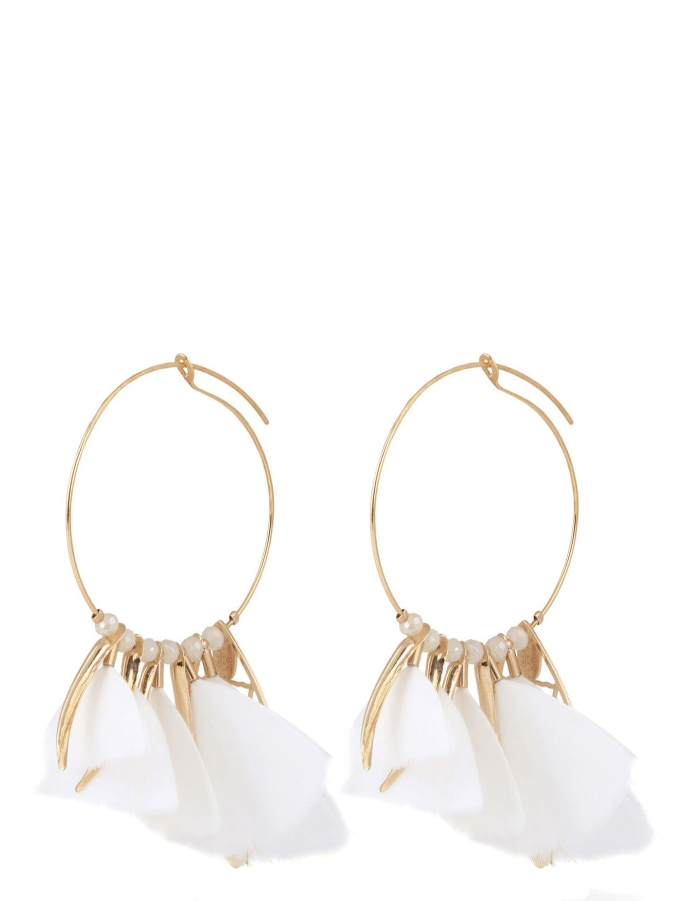 WHITE FEATHER HOOP EARRINGS