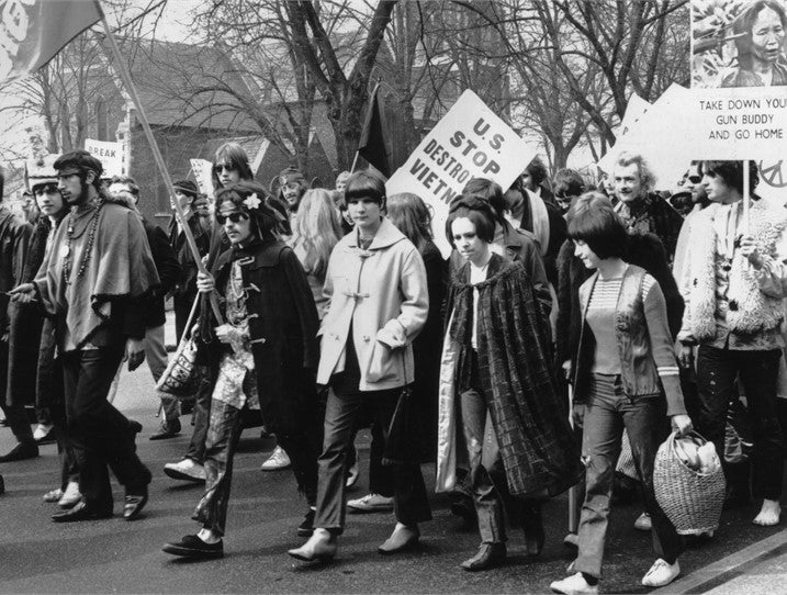 Protesters march against the war in Vietnam during 1968 in Chiswick, England.