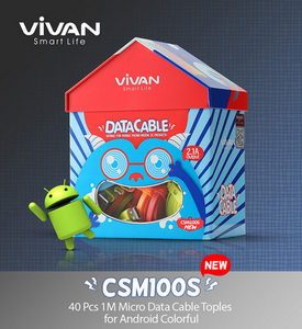 VIVAN CSM100S Micro USB cable 2.4A 1m (40pcs, Box packed)
