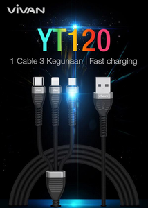 VIVAN YT120 3-in-1 (Lightning, Micro USB, Type-C) cable 3A 1.2m