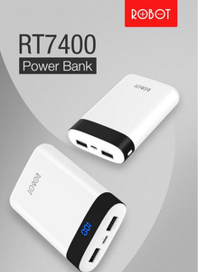 ROBOT RT7400 Power bank 6600mAh With LED light dual USB output