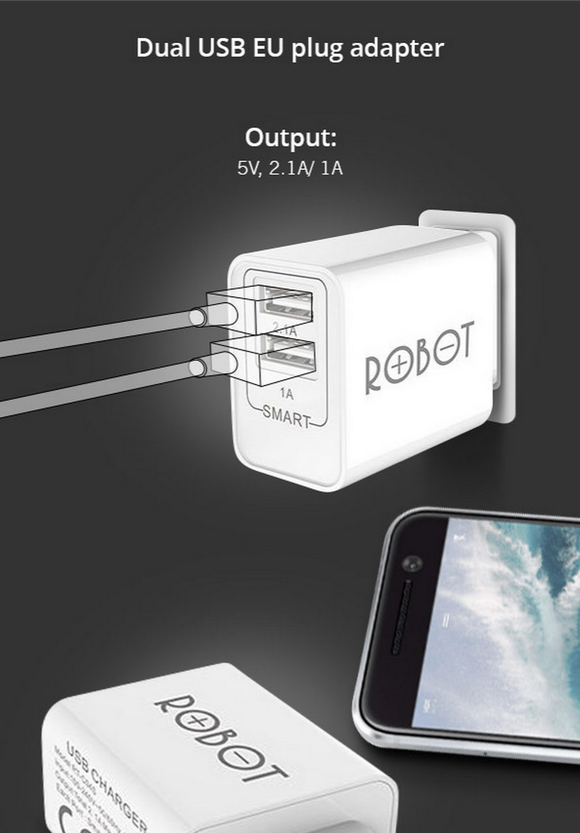ROBOT RT-C04S Travel charger 2-port (Max 2.1A)