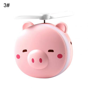 Mini Portable Cartoon Pig USB Rechargeable LED Fill Light Makeup Mirro