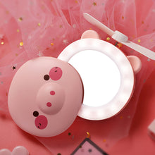 Load image into Gallery viewer, Mini Portable Cartoon Pig USB Rechargeable LED Fill Light Makeup Mirro