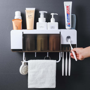Wall Mount Dust-proof Toothbrush Holder(Automatic Toothpaste Squeezer Dispenser)