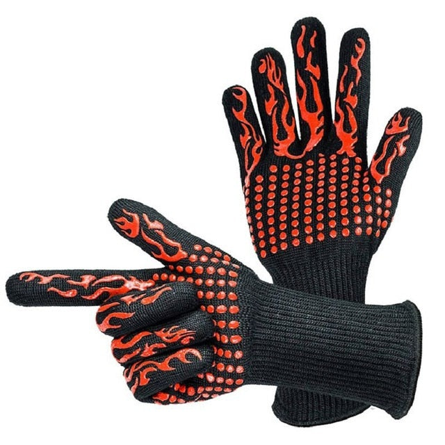 Hot 932°F Heat Resistant Barbecue BBQ Grilling Gloves Kitchen Cooking Oven Mitts