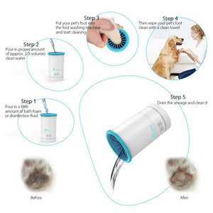 Automatic Dog Paw Cleaner, Portable Waterproof Pet Feet cleaner/Washer/Brush Cup for Dogs & Cats - pawasher