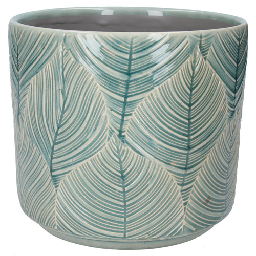 Teal Leaf Ceramic Plant Pot Large
