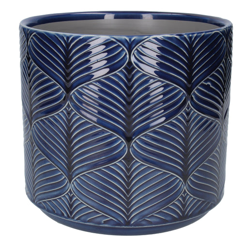 Navy Wavy Ceramic Plant Pot Large