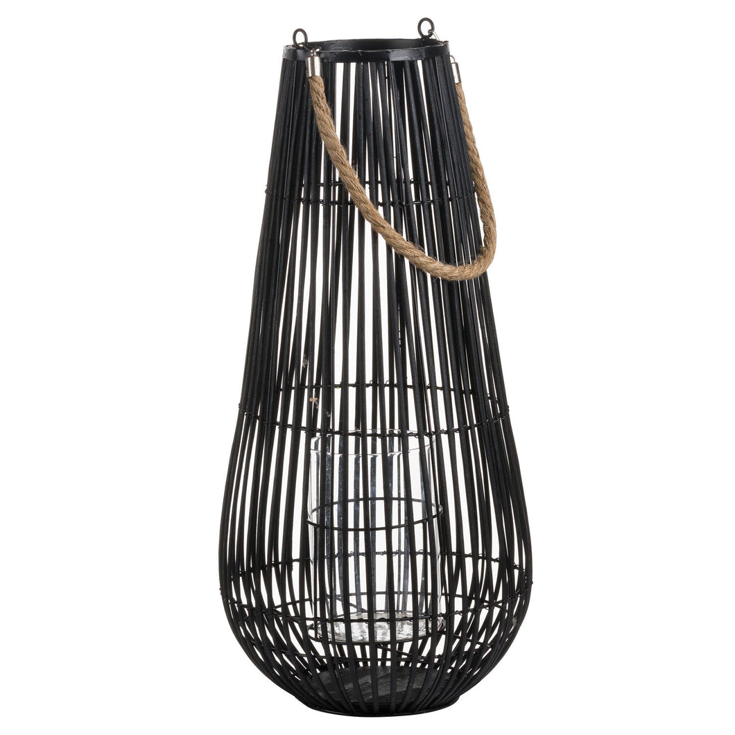 Medium Domed Black Rattan Lantern