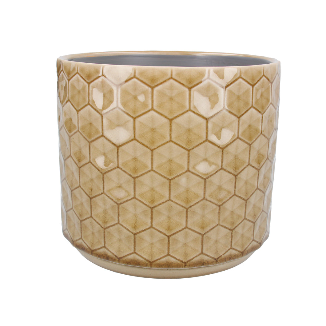 Mustard Honeycomb Ceramic Plant Pot Large