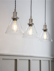 Trio of Hoxton Cone Pendant Light Satin Nickel