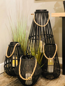 Medium Floor Standing Domed Black Wicker Lantern