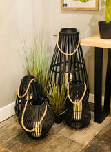 Medium Convex Black Rattan Lantern