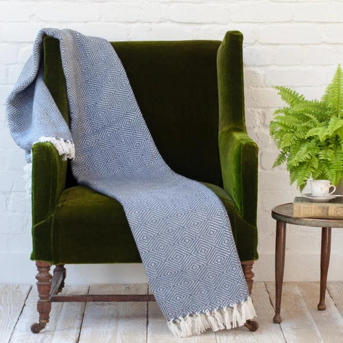 Weaver Green Throws Diamond Navy
