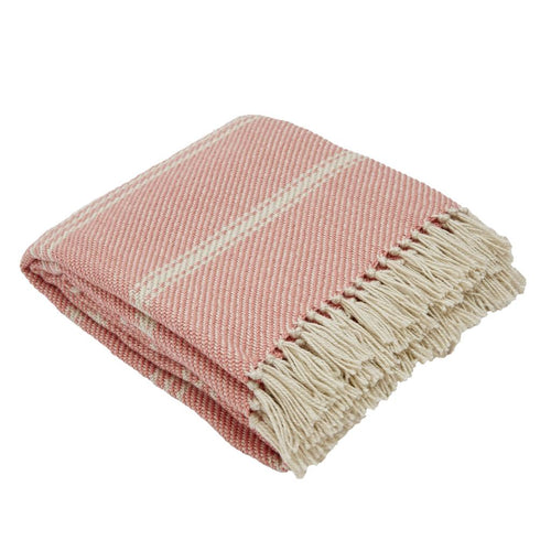 Weaver Green Throws Oxford Stripe Coral