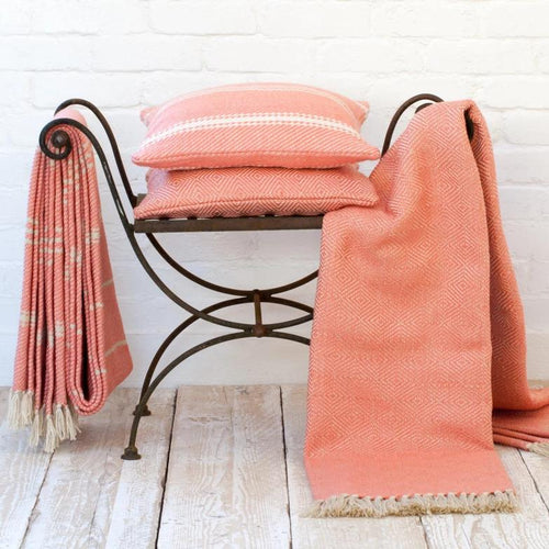 Weaver Green Throws Diamond Coral