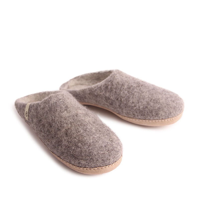 Egos Felt Wool Slippers Natural Grey