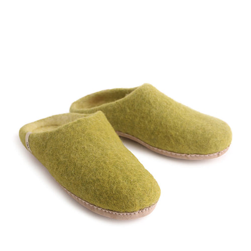 Egos Felted Wool Mule Slippers Lime Green
