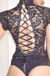 Stylish Lace See-through Sexy Backless Laced Slim-fit Stretch Bodysuit